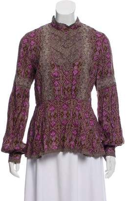 Anna Sui Lace-Accented Long Sleeve Top