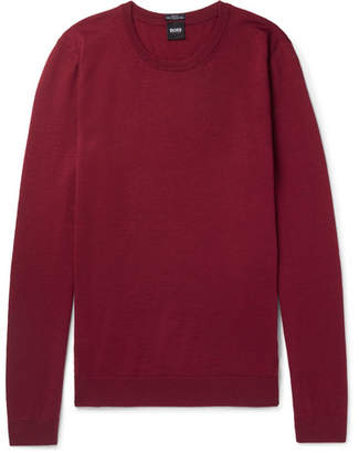 HUGO BOSS Slim-Fit Virgin Wool Sweater - Men - Claret