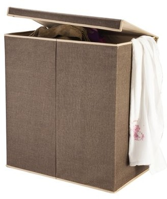 DTX Intl Villacera Double Laundry Hamper Two Compartment Sorter with Magnetic Lid, Brown