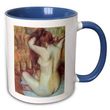 3dRose Nude Woman Combing Her Hair by Edgar Degas - Two Tone Blue Mug, 11-ounce