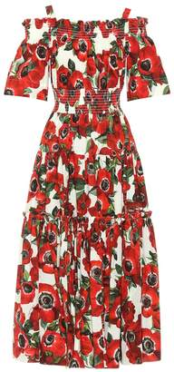 Dolce & Gabbana Floral cotton poplin midi dress