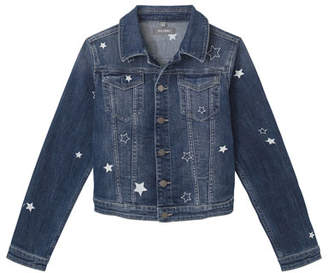 DL1961 Premium Denim Girl's Manning Star Embroidered Denim Jacket, Size S-L