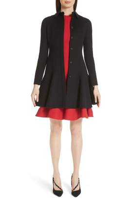 Valentino Compact Double Face Wool Peplum Coat