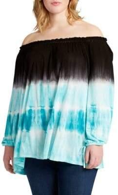 Jessica Simpson Plus Tie-Dye Off-the-Shoulder Top
