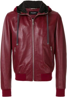 Dolce & Gabbana leather hooded jacket