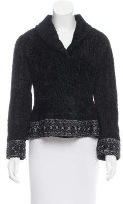 Fur Embellished Broadtail Jacket w/ Tags