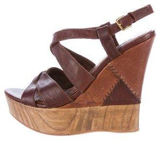 Miu MiuMiu Miu Leather Wedge Sandals