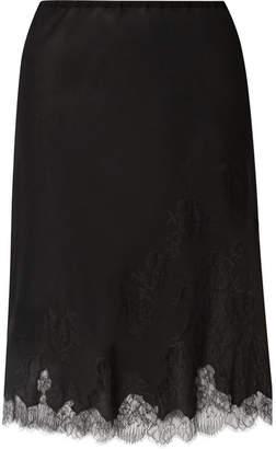 Carine Gilson Chantilly Lace-trimmed Silk-georgette Half Slip - Black