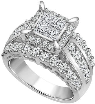 MODERN BRIDE Womens 3 CT. T.W. Princess White Diamond 14K Gold Engagement Ring