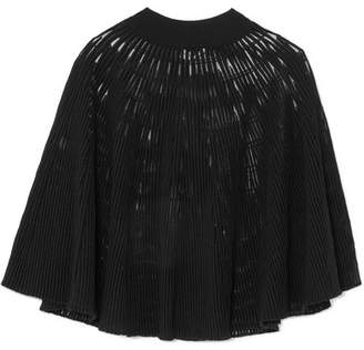 Sonia Rykiel Cape-effect Ribbed Wool-blend Top - Black