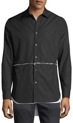Alexander McQueen Men's Zip-Detail High-Low Sport Shirt