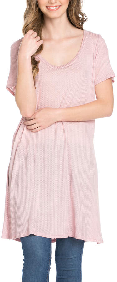 Dusty Pink Thermal Long Scoop Neck Tunic - Women & Plus