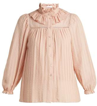 cf26664d710ef See by Chloe Ruffle Neck Cotton Top - Womens - Nude