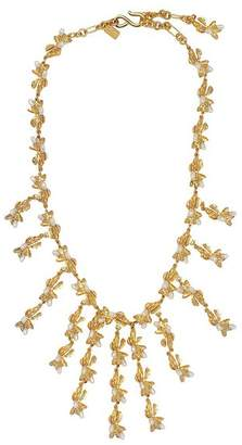 Kenneth Jay Lane Pearl Flower Bib Necklace