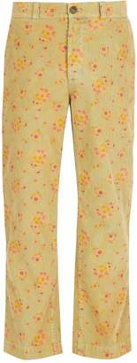 Gucci Floral Straight Leg Corduroy Trousers - Mens - Yellow