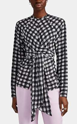 Derek Lam Women's Abstract-Gingham Silk Wrap Top - Black-White