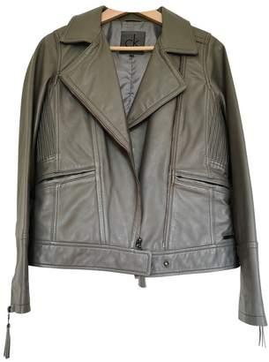 Calvin Klein Grey Leather Jacket for Women