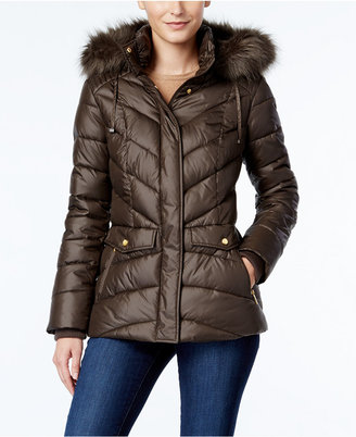 Jones New York Faux-Fur-Trim Hooded Puffer Coat $225 thestylecure.com