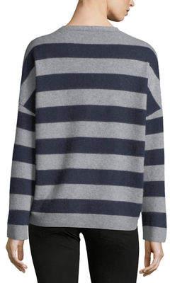 Vince Cashmere Striped V-Neck Sweater