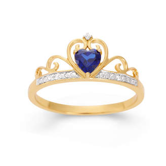 FINE JEWELRY Heart-Shaped Lab-Created Blue Sapphire & Cubic Zirconia 18K Gold Over Silver Ring