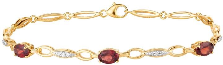 10k Gold Garnet & 1/10 Carat T.W. Diamond Bracelet
