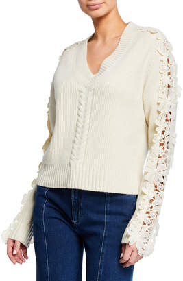 See by Chloe Lace-Trim V-Neck Pullover Sweater