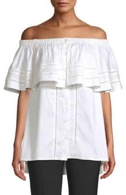 Donna Karan Off-The-Shoulder Button Blouse
