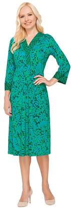 Bob Mackie Bob Mackie's 3/4 Sleeve Batik Printed Dress with Contrast Trim