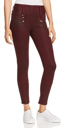 Hudson High Rise Moto Zip Skinny Jeans in Port Wax