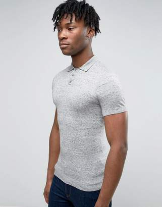 Asos Muscle Fit Knitted Polo Shirt in Gray Slub Cotton