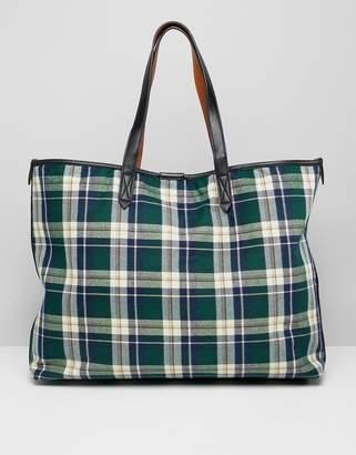 Warehouse shopper bag in green plaid check
