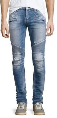 Hudson Blinder Biker Distressed Skinny Jeans, Thrash Medium Blue $305 thestylecure.com