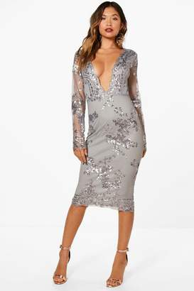 boohoo Boutique Sequin Mesh Midi Dress
