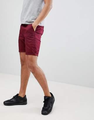 Asos DESIGN Slim Chino Shorts In Burgundy
