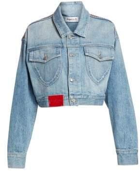 Frankie B. Cropped Rhinestone Denim Jacket