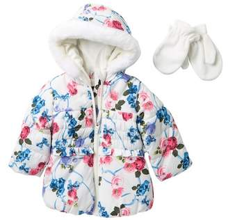 Rothschild Floral Print Hooded Puffer Jacket with Faux Fur (Toddler Girls)