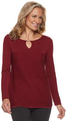 Dana Buchman Women's Textured Keyhole Sweater