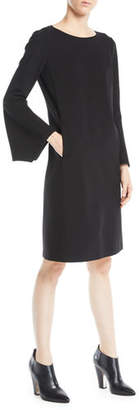 Lafayette 148 New York Paloma Punto Milano Dress w/ Trumpet Sleeves