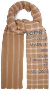 Acne Studios Cassiar Logo Print Check Wool Scarf - Womens - Beige