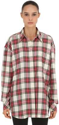 Oversized Plaid Shirt W/ Layered Sleeves