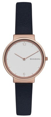 Women's Skagen Ancher Crystal Index Leather Strap Watch, 30Mm $155 thestylecure.com