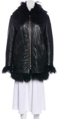Versace Leather Fur-Trimmed Coat