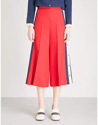 Gucci Side-stripe wide-leg silk and wool-blend trousers