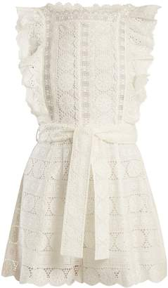 Zimmermann Kali daisy-embroidered wide-leg cotton playsuit