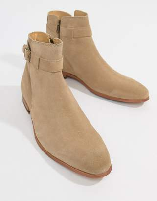 Asos DESIGN Chelsea Boots In Stone Suede With Strap Detail