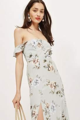 Flynn Skye bridal Floral Print Bardot Maxi Dress by