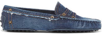 Tod's Gommino Distressed Denim Loafers - Dark denim
