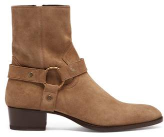 Saint Laurent Wyatt 40 Suede Boots - Mens - Beige