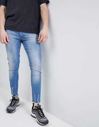 Religion Skinny Fit Jeans With Frayed Hem