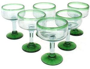 Novica Green Base and Rim Margarita Glasses, Set of 6